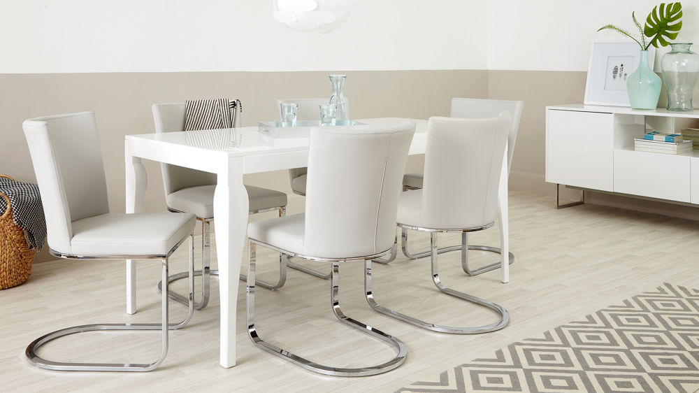 6 Seater White Gloss Dining Table and Swing Chairs