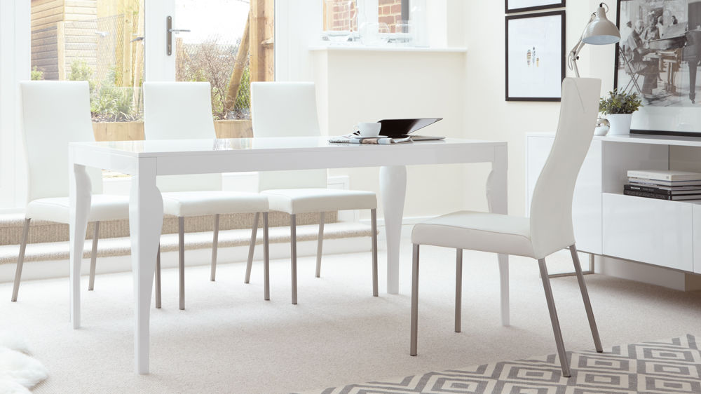 White Gloss Dining Table and Real Leather Dining Chairs & Modern 6 Seater Dining Table | White Gloss Finish | UK