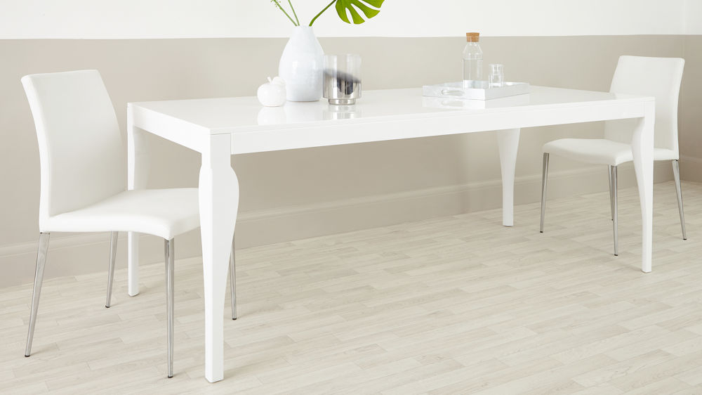 Contmeporary 8 Seater White Gloss Dining Table