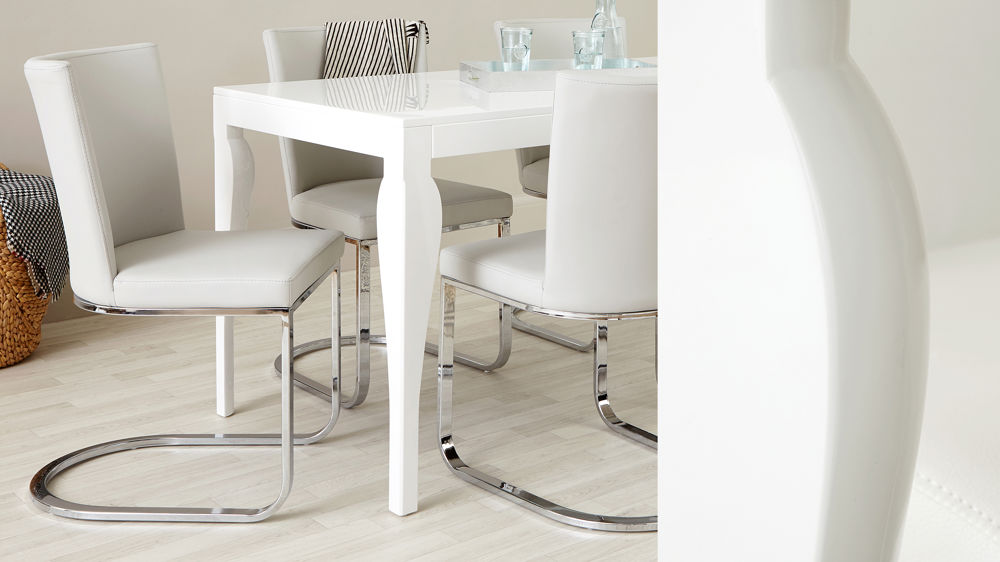 Curved Leg White Gloss Dining Table with Four Chairs