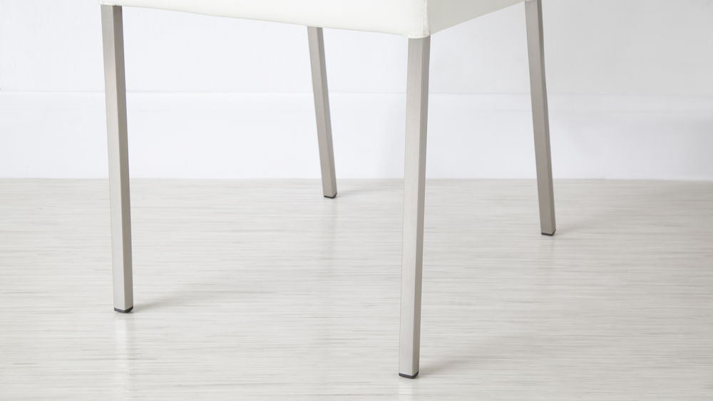 Thin Brushed Metal Legged Dining Chairs