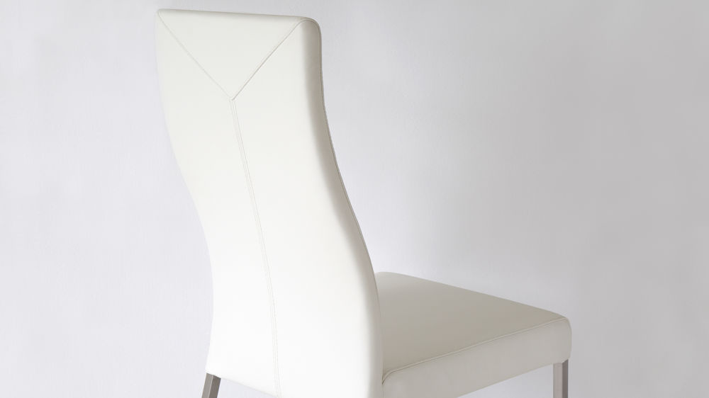 Curved High Backed Dining Chair in White Real Leather