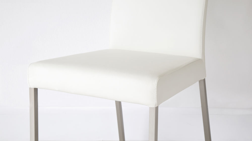 Comfortable White Real Leather and Brushed Metal Chairs