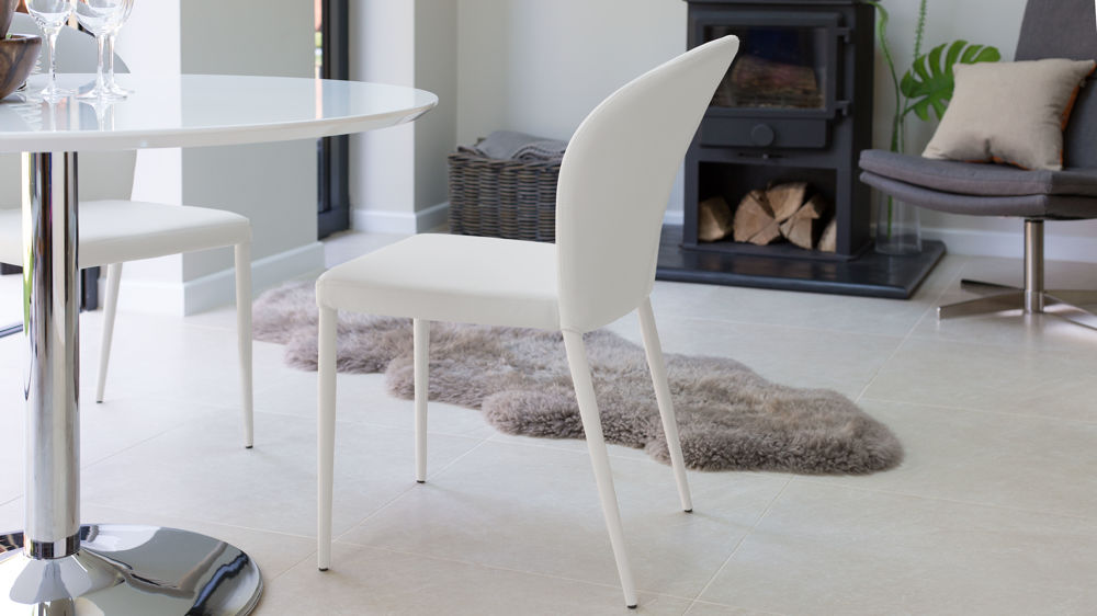 Curved Back Dining Chairs in White