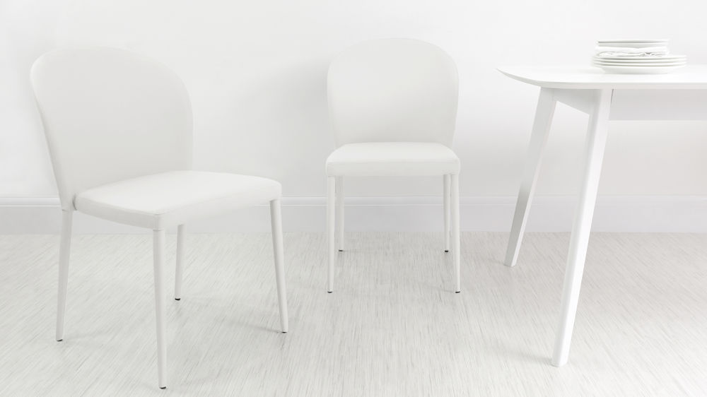 White Dining Chairs that can Stack