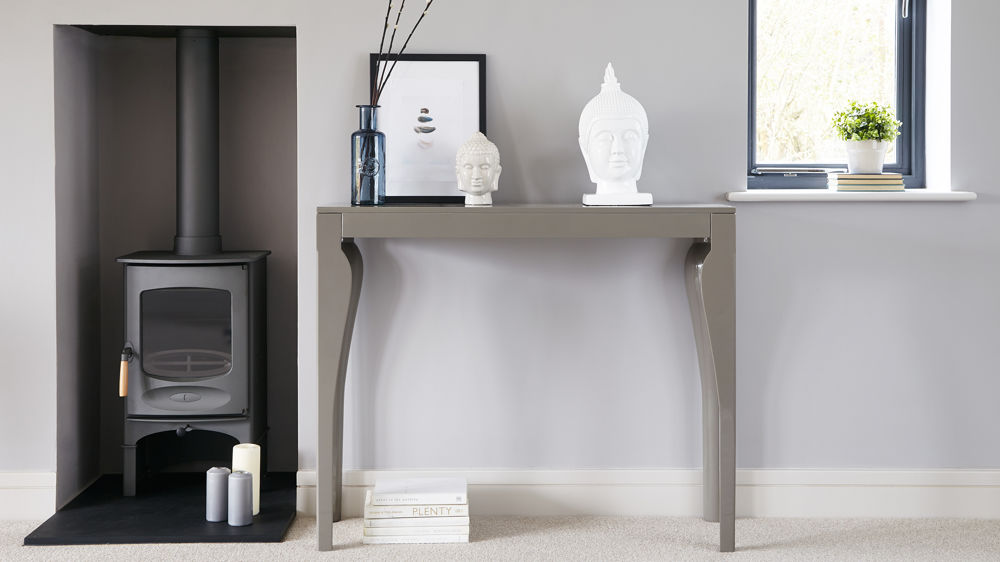 Taupe Grey Gloss Console Table Uk Delivery