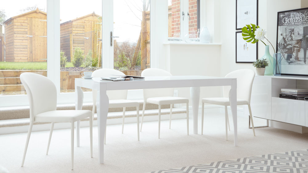 large white gloss dining set with white chairs - 6 Seater Dining Table And Chairs