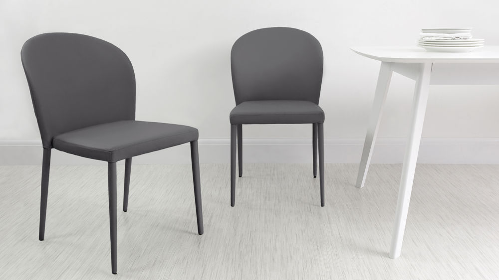Dark Grey Stackable Dining Chairs
