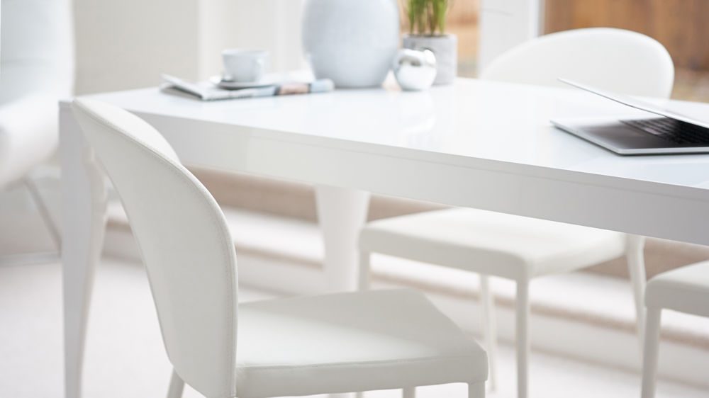 White Curved Back Dining Chairs