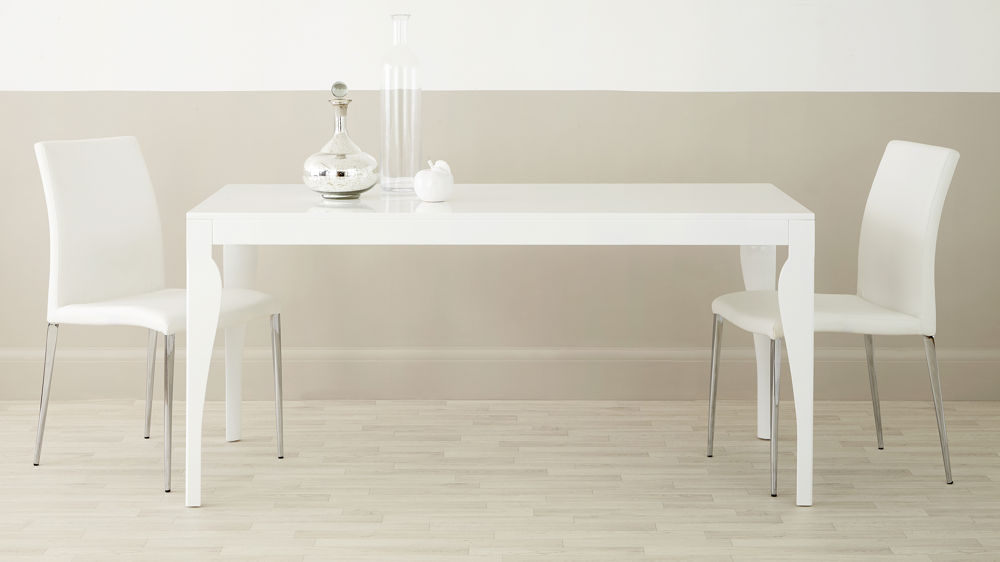 Large White Gloss Dining Table with Contemporary Legs