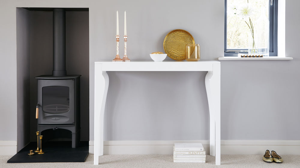 modern white console table