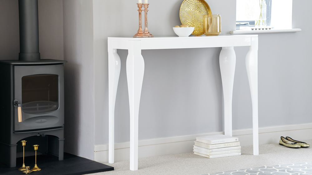 Modern White Gloss Console Table Styling and Storage UK