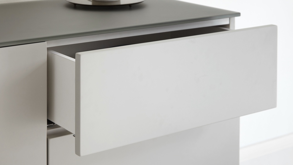 Frosted grey glass and matt grey sideboard