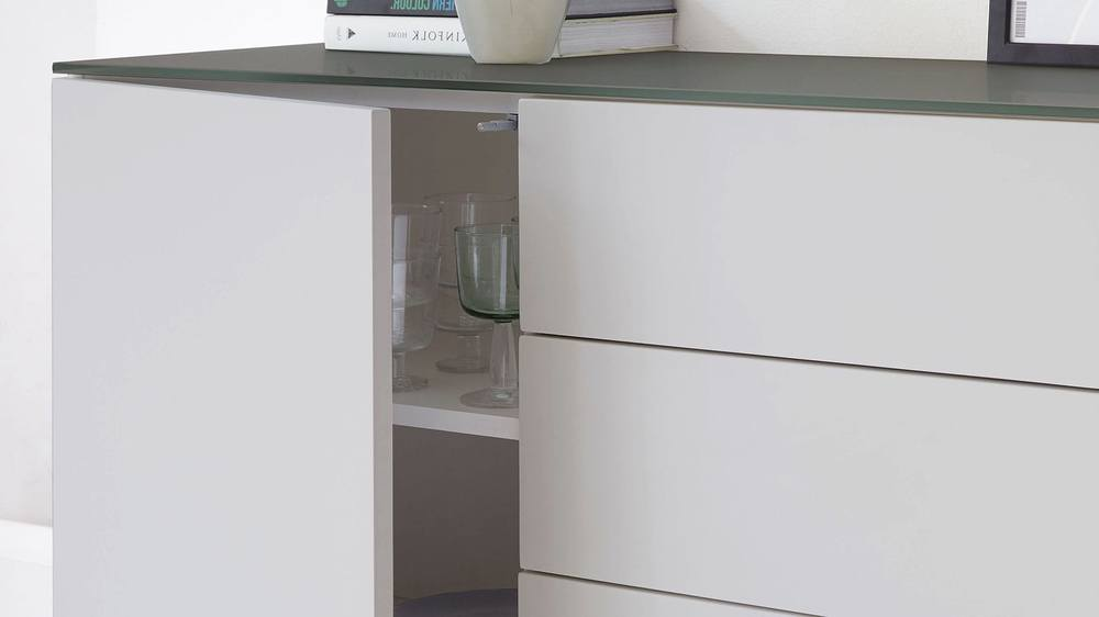 Frosted glass compact sideboard with shelf