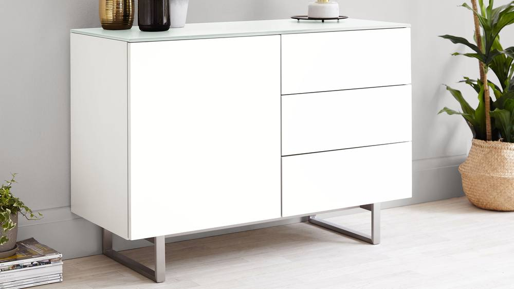Frosted white glass and matt white compact sideboard