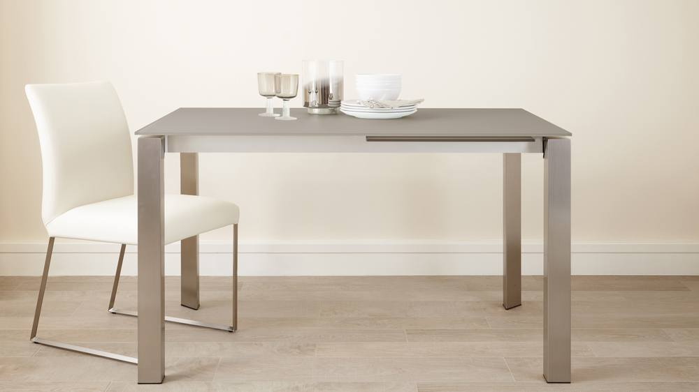 Brushed Metal and Glass Extending Dining Table