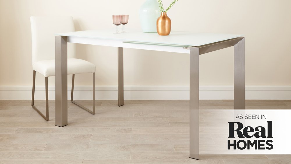 White Glass and Metal Legs Dining Table