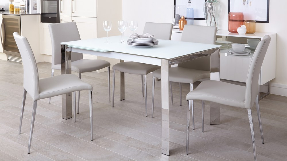 Chrome and glass modern extending dining table