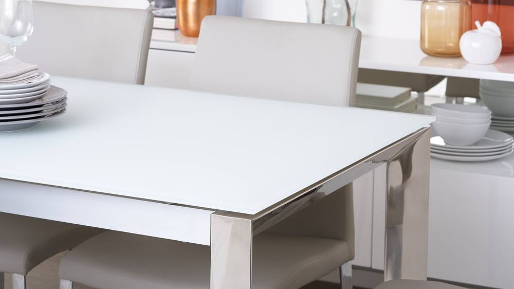 White frosted glass extending table with chrome legs