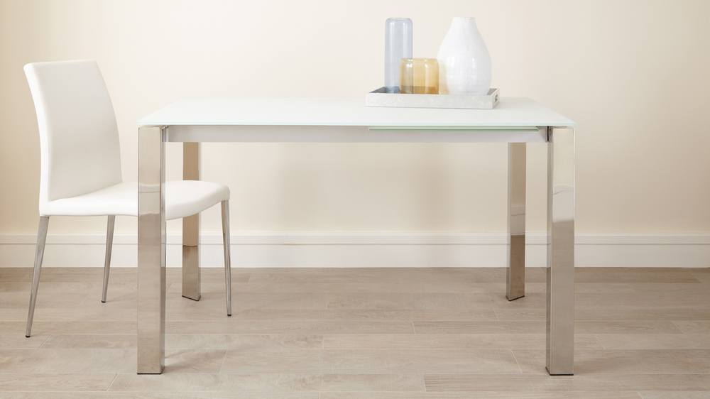 White frosted glass extending dining table uk delivery - White extending dining tables ...