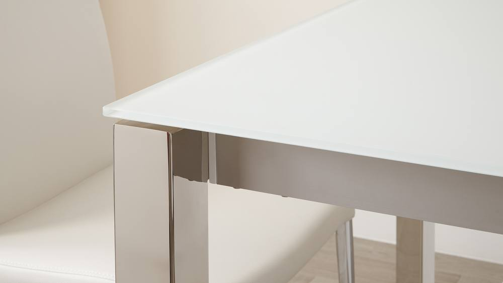 White frosted glass and chrome legs extending dining table