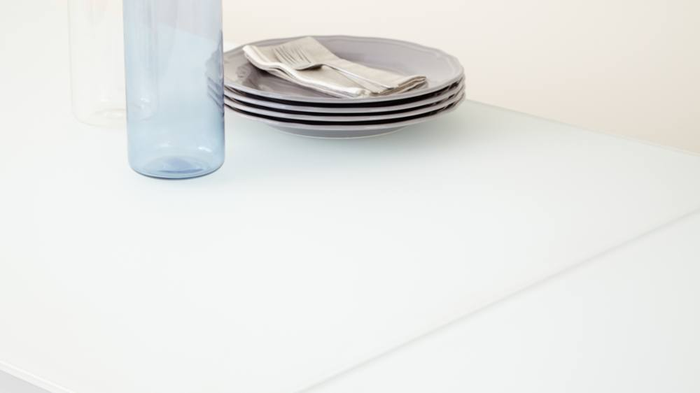 White frosted tempered glass table top