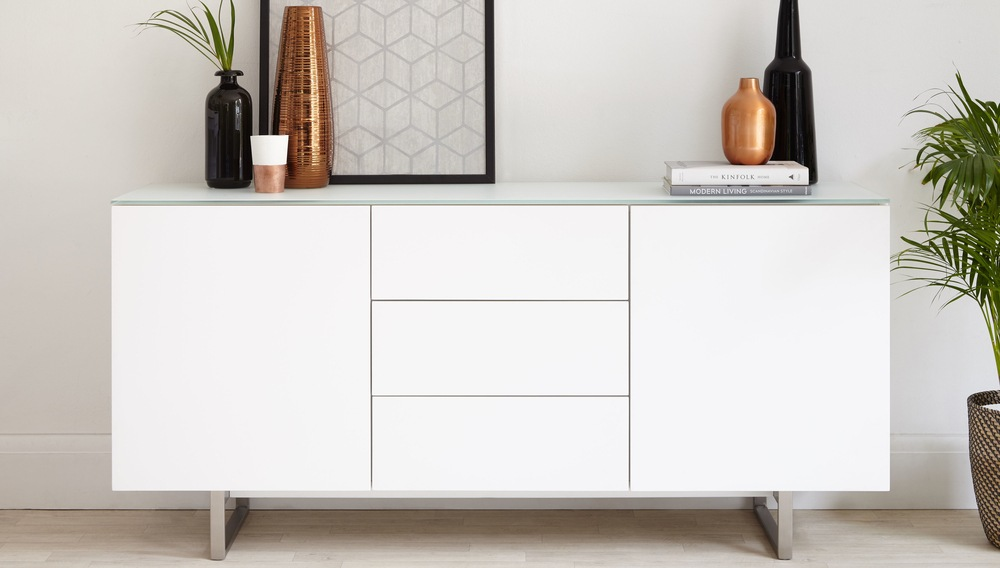 Modern White And Glass Sideboard With Storage Uk Delivery