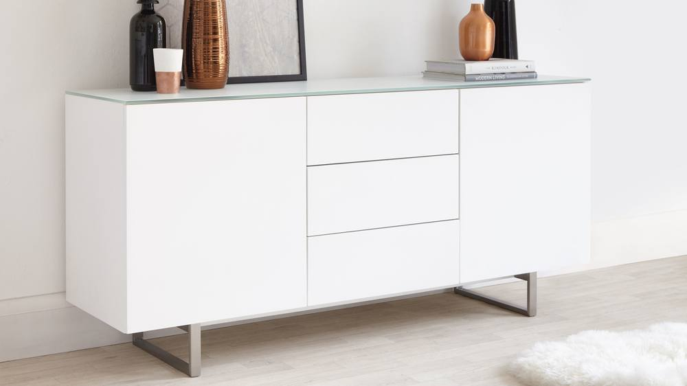 Large frosted glass and matt white sideboard