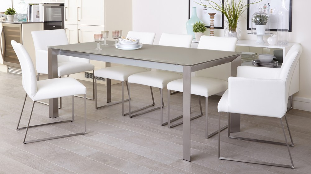 Grey Frosted Glass Extending Dining Table Leather Chair UK : eve grey frosted glass with brushed stainless steel and monti leather extending dining set 1 from www.danetti.com size 1000 x 562 jpeg 74kB