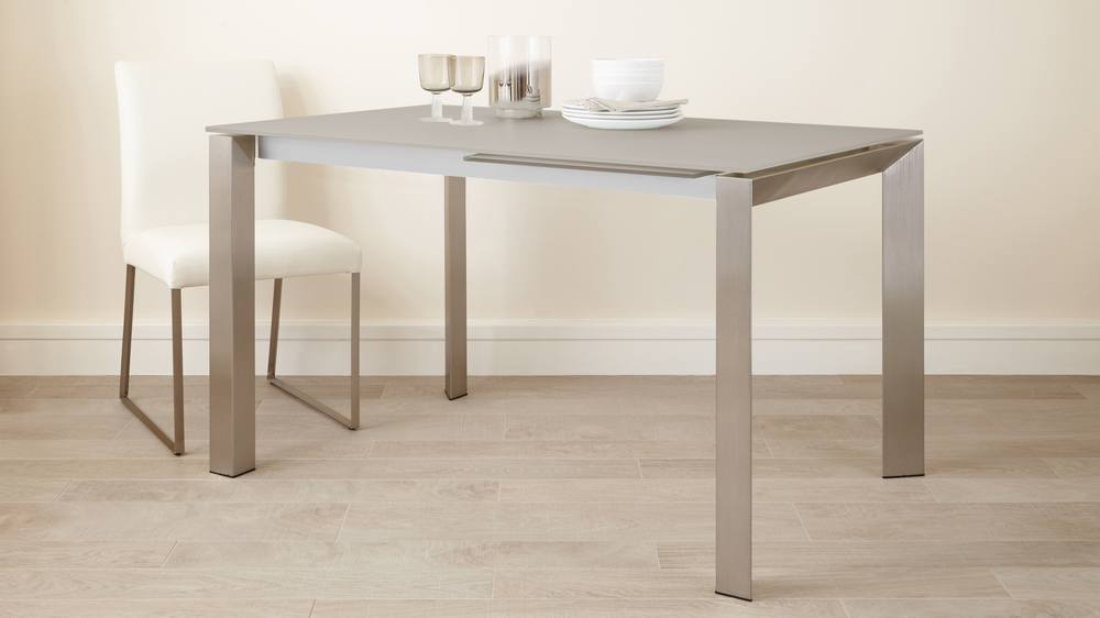 Grey Frosted Glass Extending Dining Table