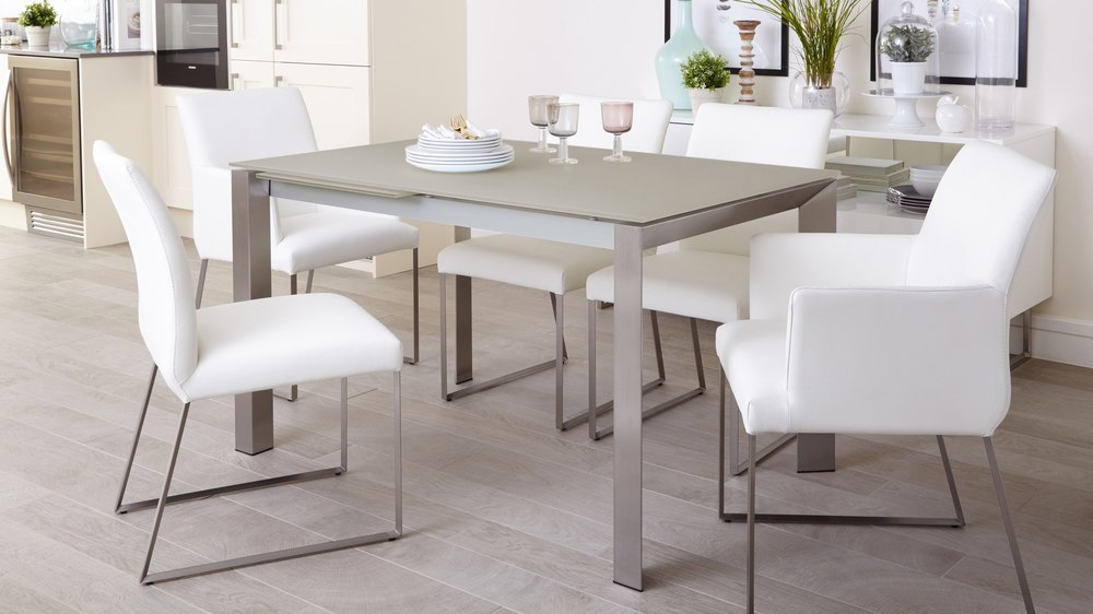 Real Leather Dining Chairs and Grey Extending Dining Table