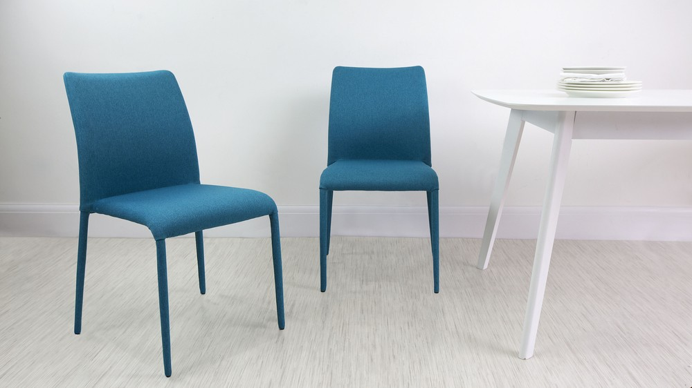 Teal Grey Fabric Dining Chairs