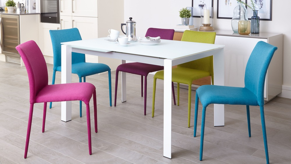 Stylish Glass Dining Table and Colourful Dining Chairs
