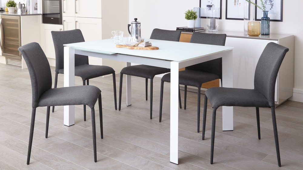 Modern Glass Extending Dining Set with Grey Dining Chairs