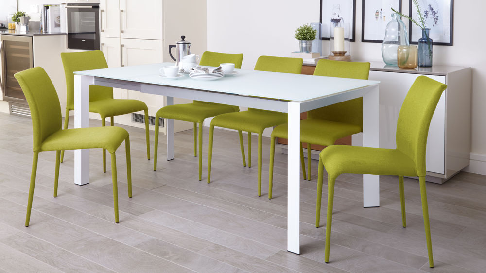 Eve White Frosted Glass Extending Dining Table Danetti