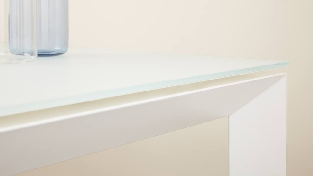 White frosted glass and painted leg extending table