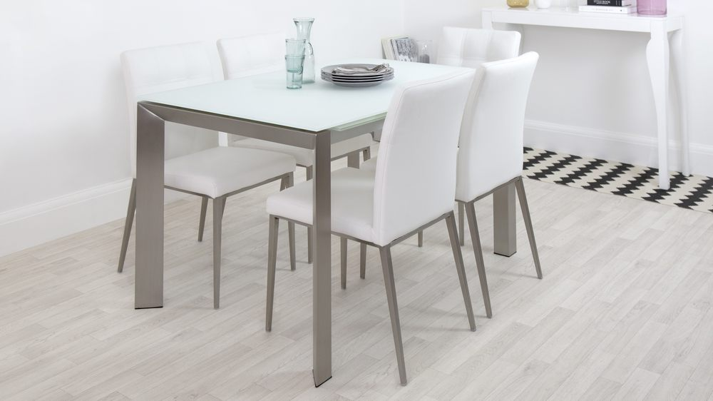 Frosted Glass Extending Dining Table