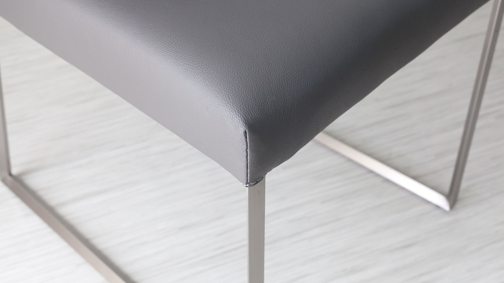 Contemporary Grey Leather Dining Chairs
