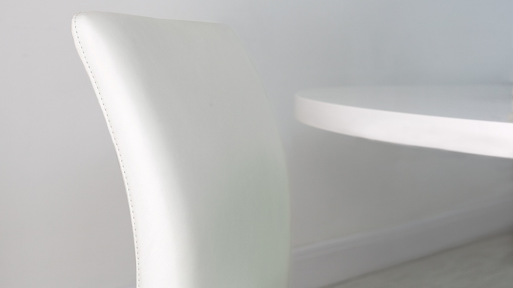 Modern White Dining Chairs in Real Leather