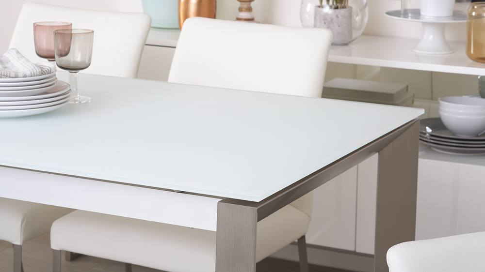 White Frosted Glass Extending Dining Table
