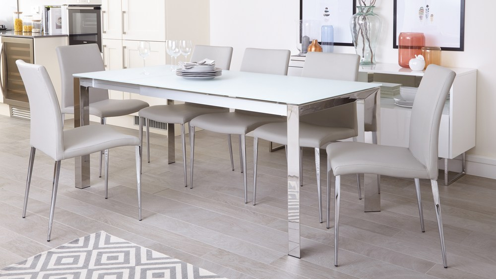 White Frosted Glass Extending Dining Table Chrome Legs : eve white frosted glass with chrome and elise extending dining set 1 from www.danetti.com size 1000 x 562 jpeg 77kB