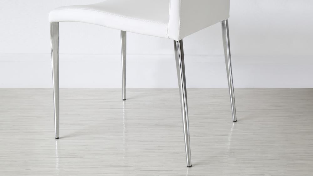 White Frosted Glass Extending Dining Table Chrome Legs
