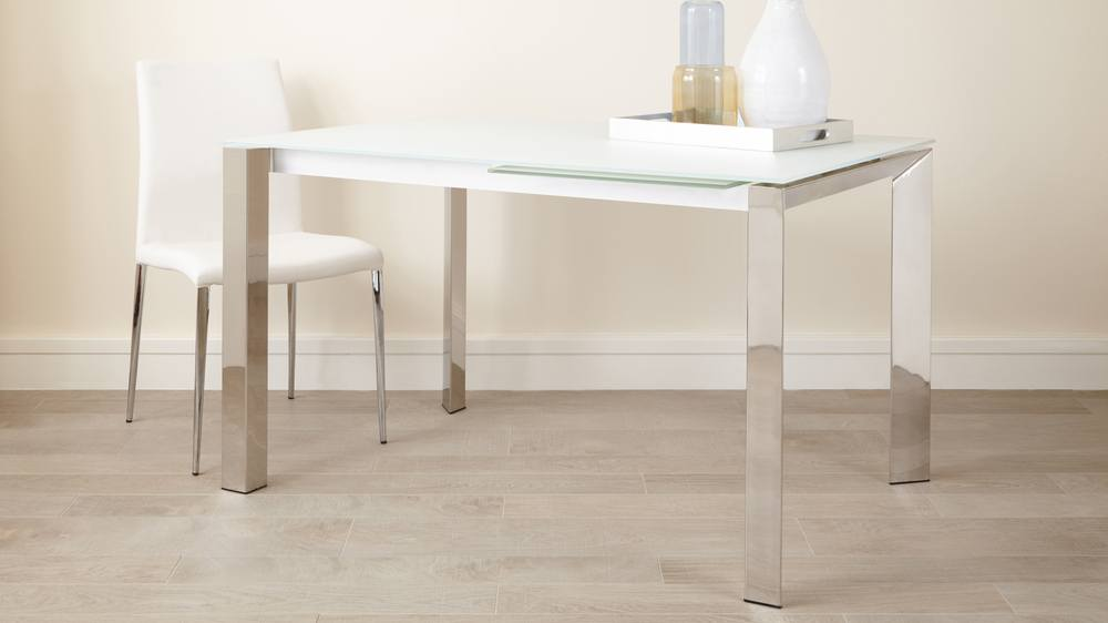 eve white frosted glass with chrome and elise extending dining set 4 Glass And Chrome Coffee Table Sets