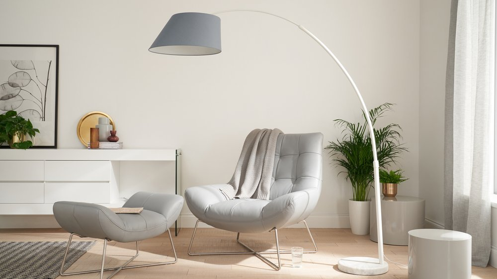 Evey white arc floor lamp