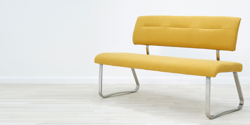 Fergus Mustard Fabric 3 Seater Bench with Backrest