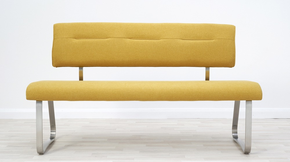mustard colour dining bench