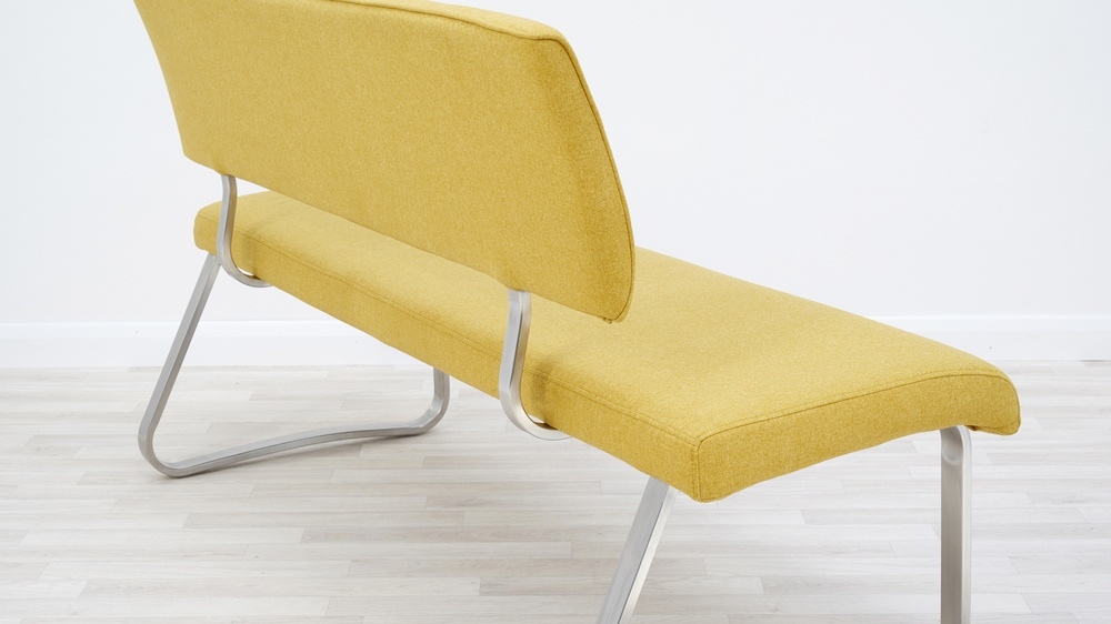 mustard yellow dining bench