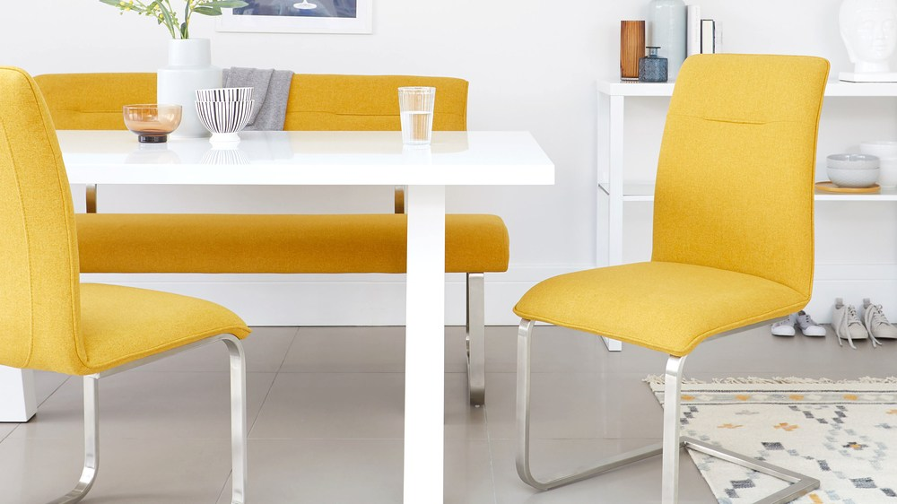 melange fabric dining chairs