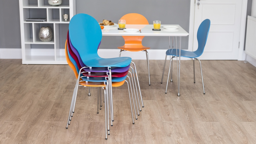 Modern Coloured Stackable Dining Chairs