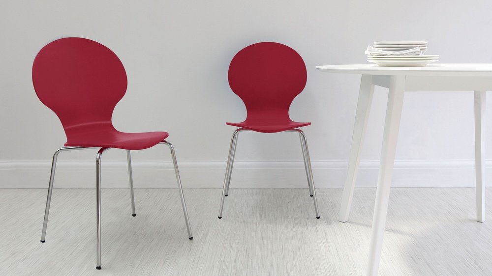 Red Dining Chairs with Chrome Legs